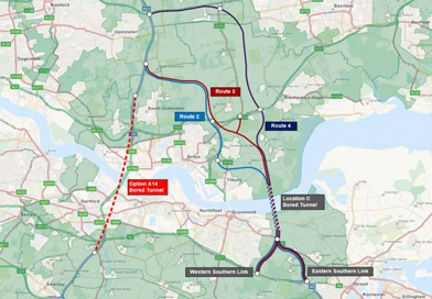 Map of the alternative Thames Crossing Route Option A14