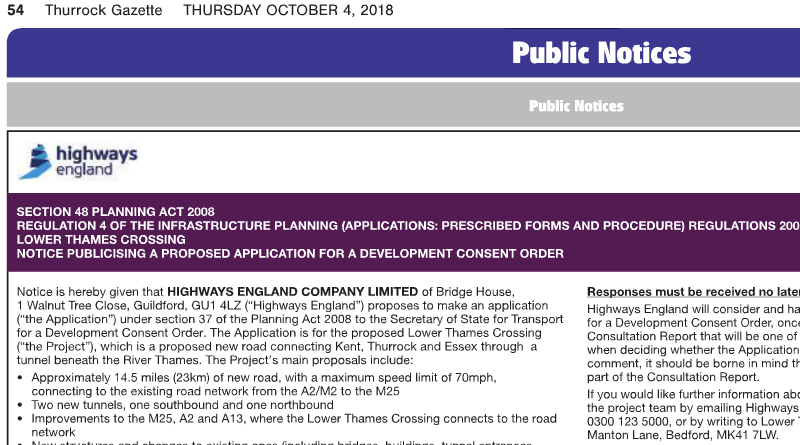 Lower Thames Crossing Statutory Consultation announced