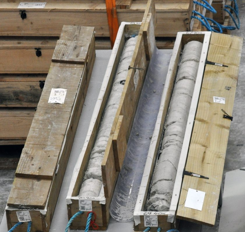 Lower Thames Crossing Ground Investigation Site Visit - Core Store facility showing core samples in core boxes