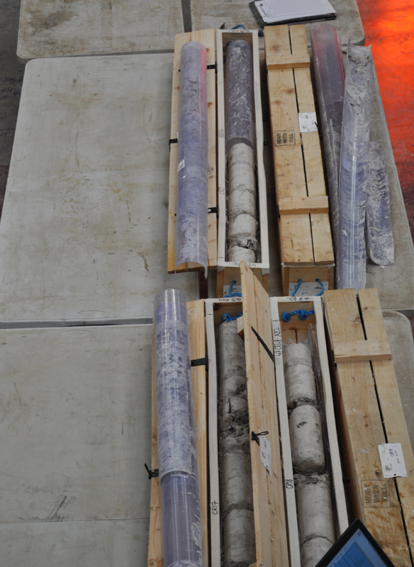 Lower Thames Crossing Ground Investigation Site Visit - Core Store facility showing core samples in core boxes with the core liners next to them