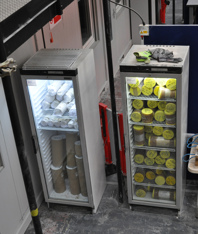 Lower Thames Crossing Ground Investigation Site Visit - Core samples in fridges at the Core Store facility