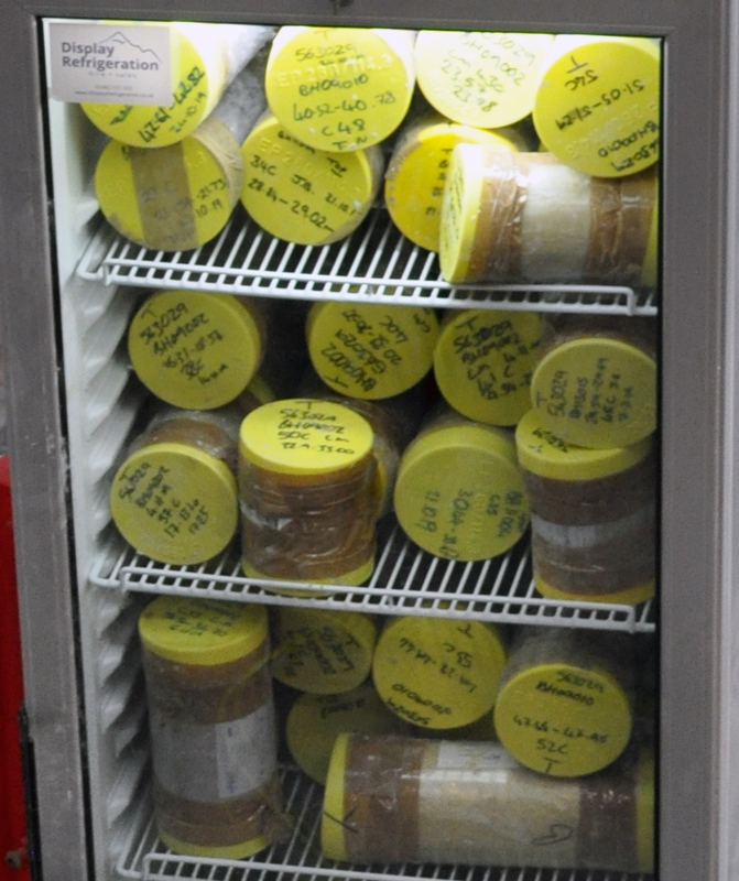 Lower Thames Crossing Ground Investigation Site Visit - Core samples in fridge at Core Store facility