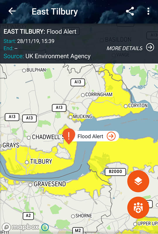 Nov 2019 Flood Alert in East Tilbury
