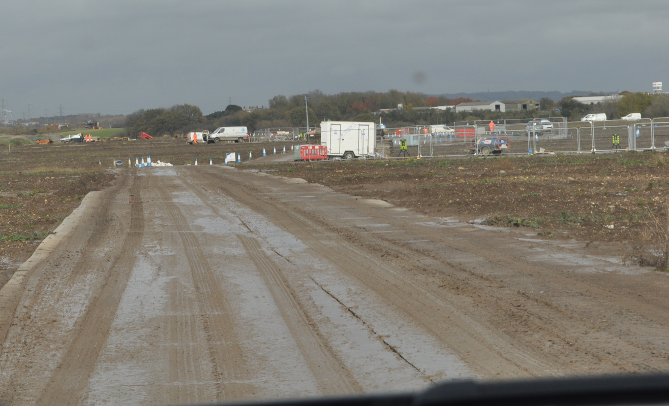 Lower Thames Crossing Ground Investigation Site Visit - Ground Investigation works in a muddy field
