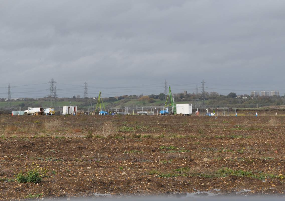 Lower Thames Crossing Ground Investigation Site Visit. Ground Investigation works in a muddy wet field