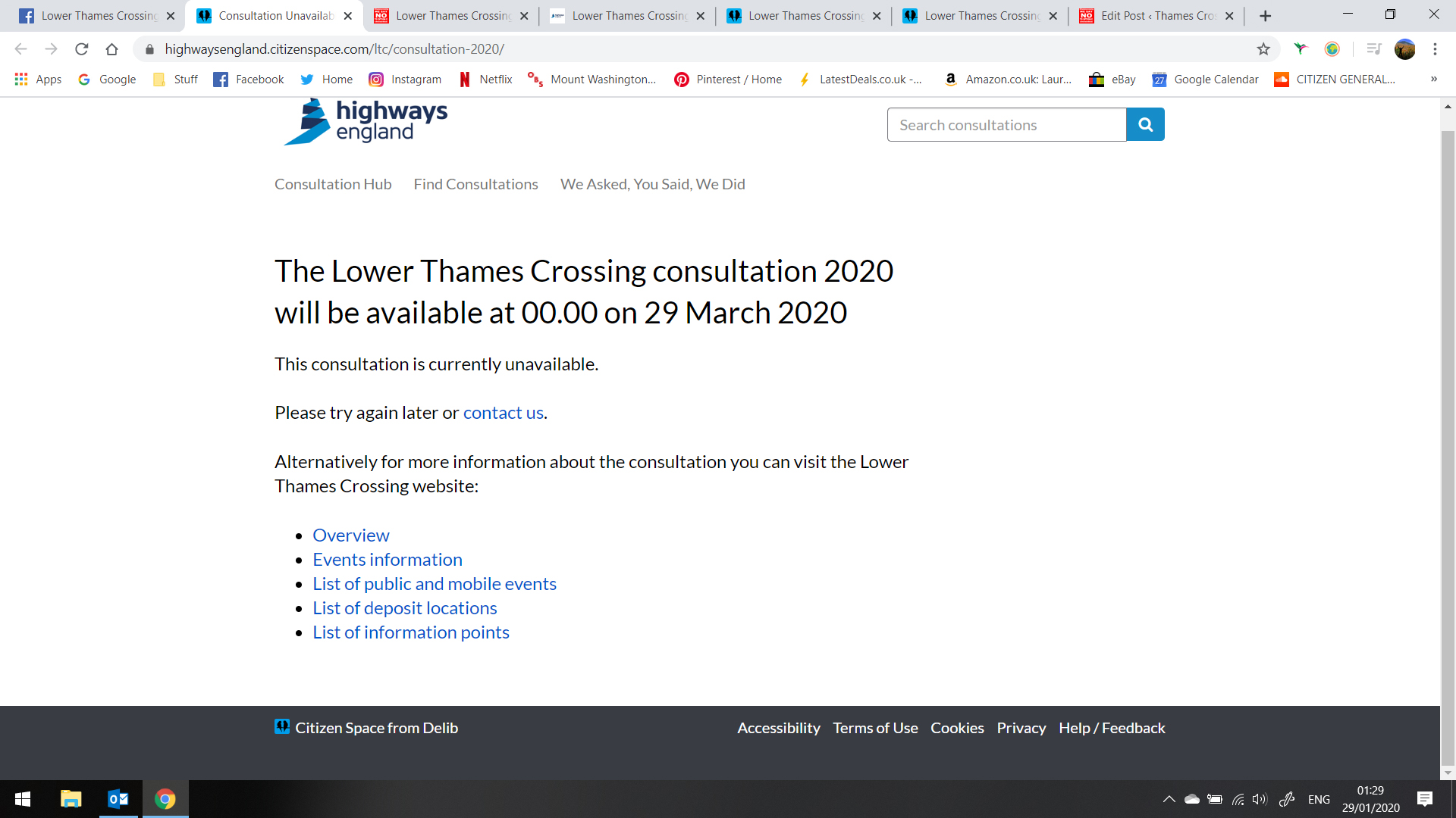 Lower Thames Crossing Supplementary Consultation Website Error