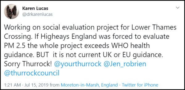 Professor Karen Lucas Tweet July 2019