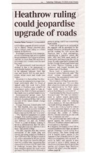 The Times article on Heathrow ruling and how it could jepardise upgrade of roads