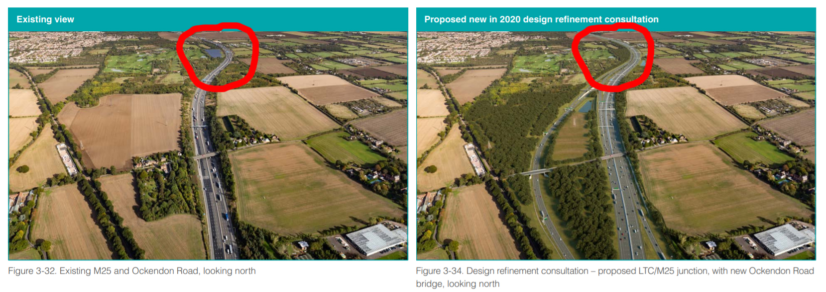 Cranham Solar Farm Demolished if LTC goes ahead, shown in the existing compared to proposed image in the LTC consultation guide