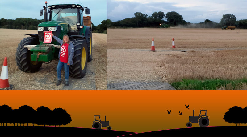 LTC impacts on farming shows someone wearing a NO LTC tshirt and holding a NO LTC poster in front of a tractor