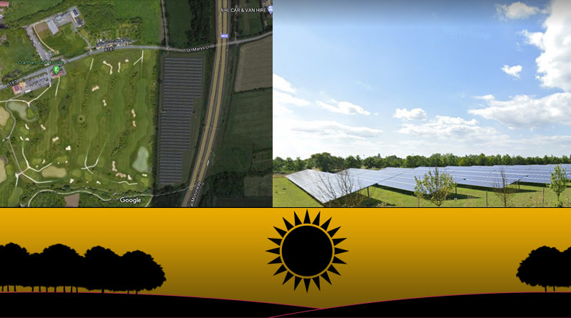 LTC impacts to solar farms - images of Cranham Solar Farm shown from the side and above
