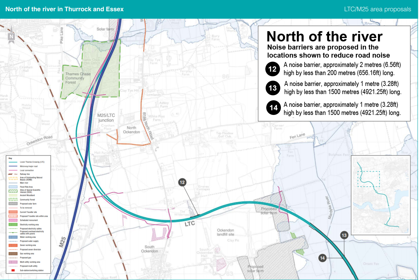 Map showing proposed noise barriers along the route north of the river (Thurrock/Havering/Essex)