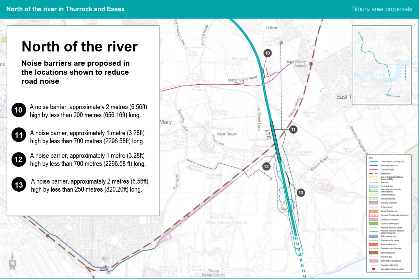 Map showing proposed noise barriers along the route north of the river (Thurrock)