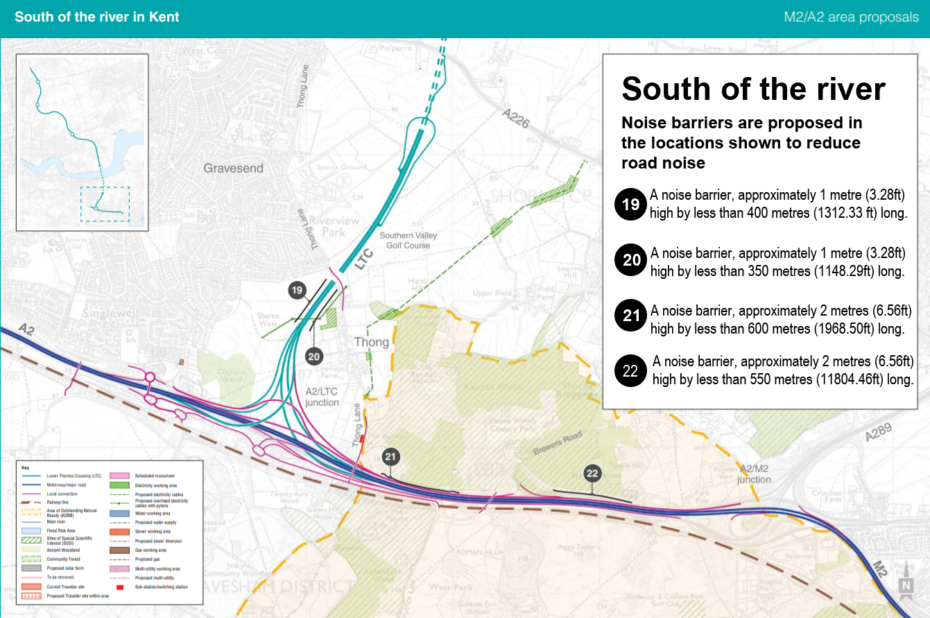 Map showing proposed noise barriers along the route south of the river (Kent)
