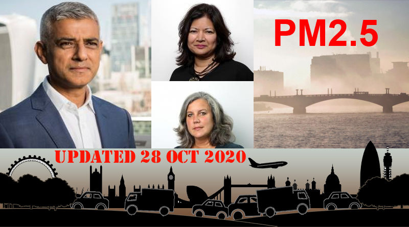 Mayor of London Sadiq Khan and two of his team, scene of London, and text PM2.5